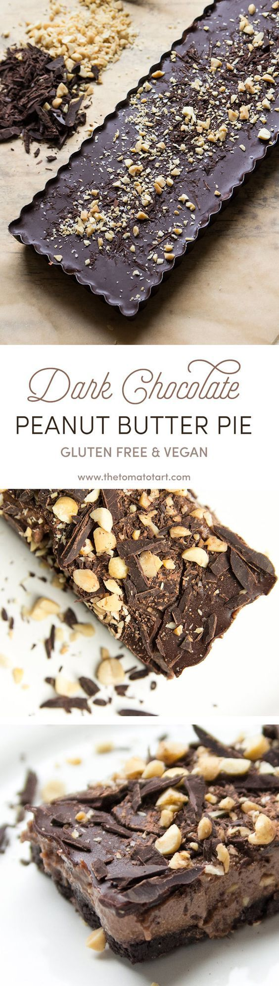 Gluten Free & Vegan Chocolate Peanut Butter Pie inspired by Girl Scout Cookies on www.thetomatotart.com