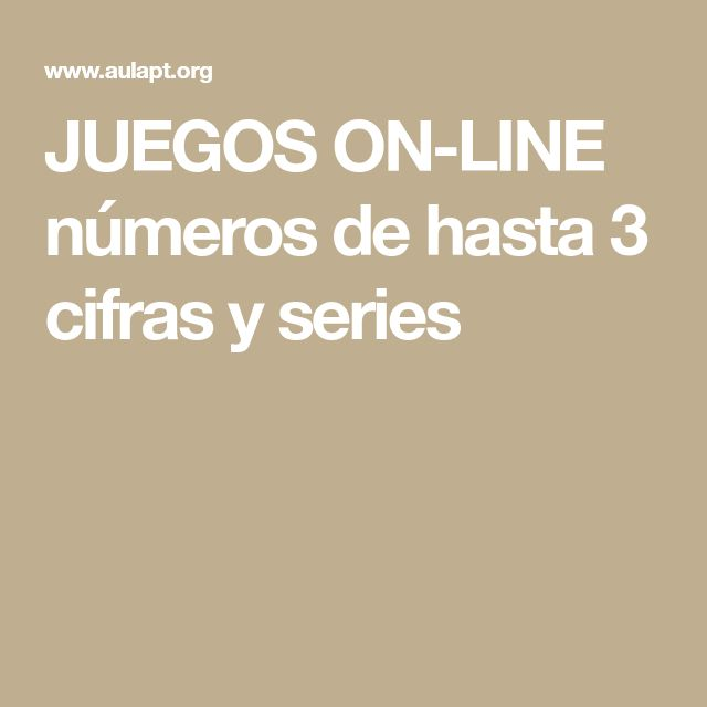 JUEGOS ON-LINE números de hasta 3 cifras y series