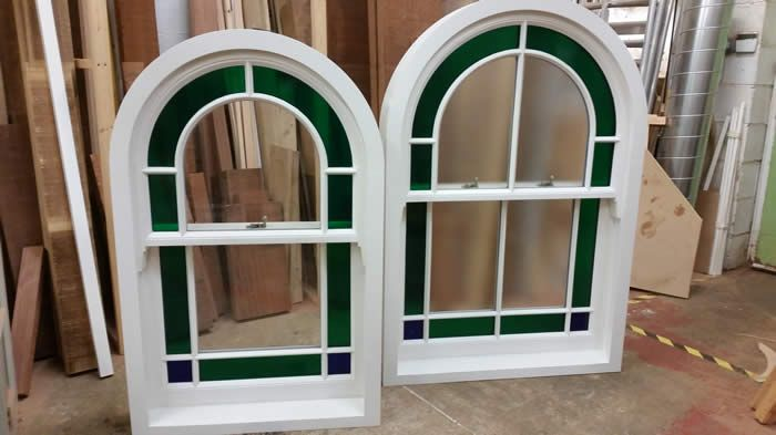 Arched Top Sash Windows in Merrin Joinery workshop. www.merrinjoinery.com