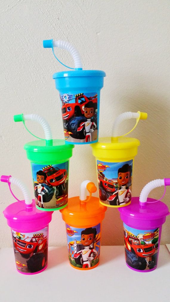 6 Lightweight 1-2 Year Old Party Favor Cups, 6 Blaze and the Monster Machines Stickers Party Favor Cups Aj Monster Truck Birthday Party Cups