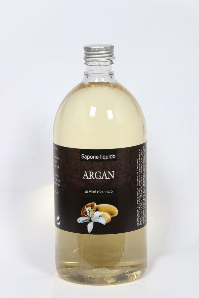 Sapone di Marsiglia liquido all'olio di Argan – 1lt Profumato ai fiori d'arancio, senza SLS, SLES, Parabeni ed EDTA.