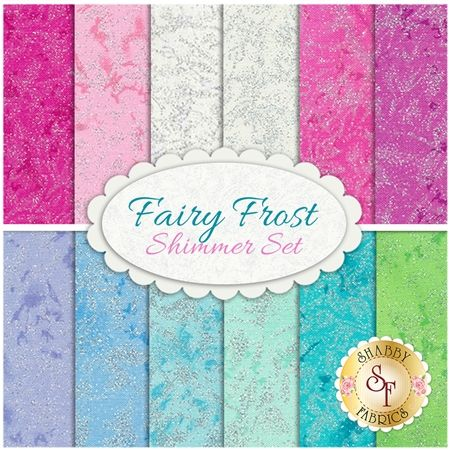 Fairy Frost 12 FQ Set - Shimmer Set by Michael Miller Fabrics: Fairy Frost is a collection by Michael Miller Fabrics. 100% Cotton. This set contains 12 fat quarters, each measuring approximately 18