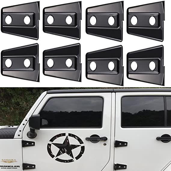 Amazon Com Hooke Road Black Door Hinge Cover For 2007 2018 Jeep Jk Wrangler Unlimited 4 Door 8pcs Auto In 2020 Black Door Hinges 4 Door Jeep Wrangler Jeep Wrangler