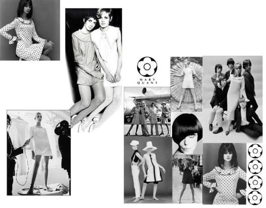 Mary Quants ontwerpen  In de jaren '60 veranderde het westerse modebeeld flink. De Parijse mode oogde relaxter, minder ingesnoerd. Het silhouet was rechter en de stoffen waren minder stijf. In Engeland ontwierp Mary Quant de minirok, die in Engeland en ver daarbuiten populair werd. Quants ontwerpen waren speels en hadden vaak een print. Ook werd de jeugdcultuur steeds belangrijker.