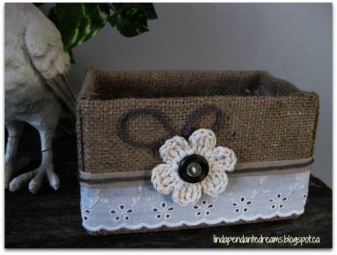 lindapendante dreams: Burlap Covered Box