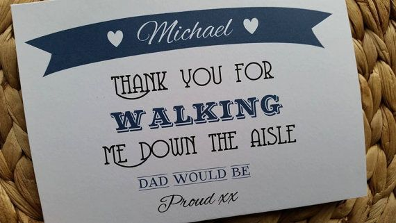 Walking Me Down The Aisle -  Personalised Thank You Card