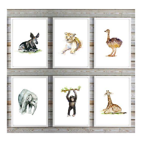 6 Afrikaanse baby dieren  poster prints  door Lemonillustrations