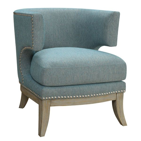 From the Country Chic Collection, this accent chair by Coaster has a barrel back design, nailhead trim and a thick seat cushion ($429).