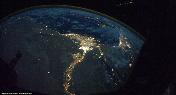 Stark contrast: The dark desolate lifeless desert of northern Africa and the Nile River teeming with life along its shores, and the Mediterranean beyond