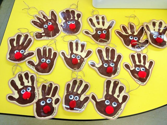 Handmade Hand print ornaments for kids to make - Rudolph Christmas Ornaments