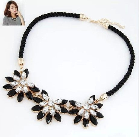 Vintage Brand Women Collar Bohemia Statement Choker Weave Link Chain Crystal Flower Necklace&Pendant Fine Jewelry  A549