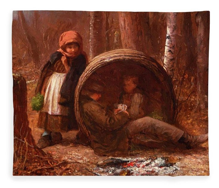 The Fleece Blanket featuring the painting The Eavesdropper 1866 by Johnson Eastman