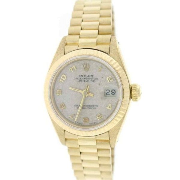Pre-owned Rolex Datejust 69178 18K Yellow Gold Automatic 26mm Womens... ($6,902) ❤ liked on Polyvore featuring jewelry, watches, 18 karat gold jewelry, 18k watches, gold dial watches, rolex wrist watch and yellow gold watches