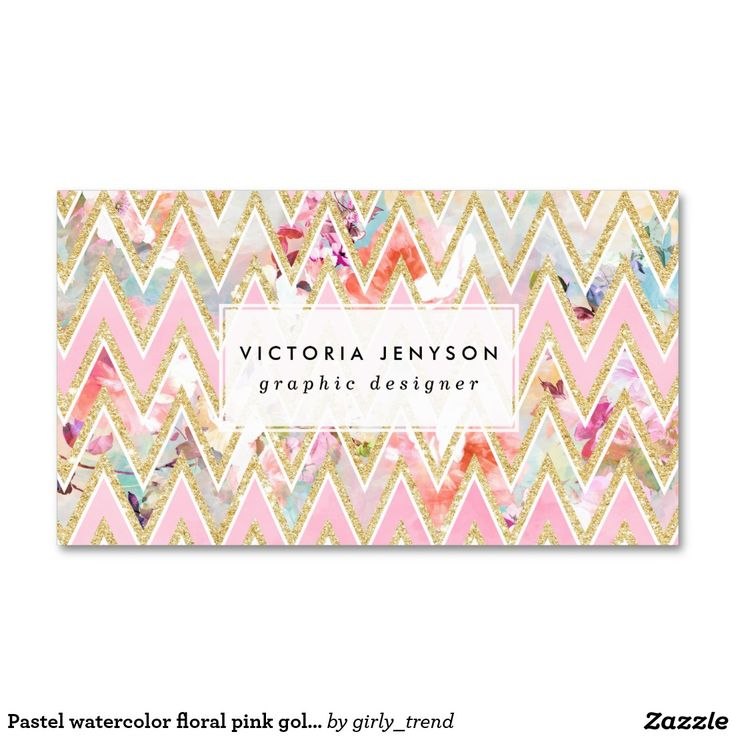 Pastel Watercolor Fl Pink Gold Chevron Pattern Double Sided Standard Business Cards Pack Of