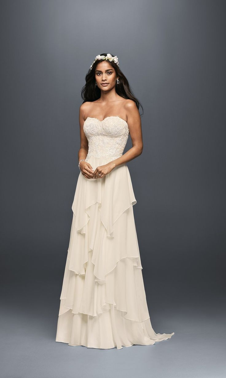 Tiered chiffon A-line Style MS251178 wedding dress, $758, Melissa Sweet; available at David's Bridal