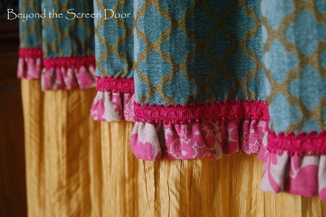 Pink & Turquoise Home Office Curtains | Beyond the Screen Door.  Not my style, but FUN colors for a girls room.