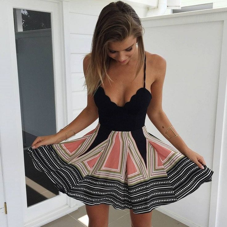 Adorable high waist boho dress from Pretty & Posh! Chic and affordable! Love the pattern on the skirt, just wish the top part would hold me in better!
