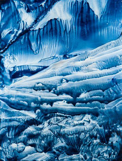 Awakening II - Thawing, the lake waiting for an awakening. Encaustic. www.gaylehalliwell.com