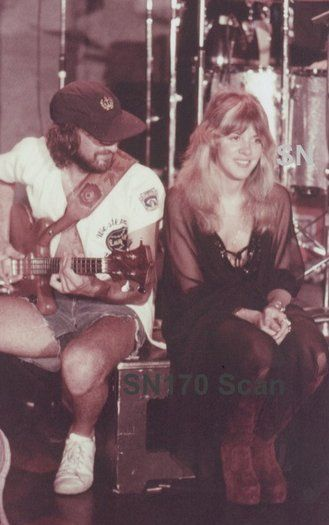 Stevie 1976, Rhiannon outfit. Pictured with bassist John McVie.