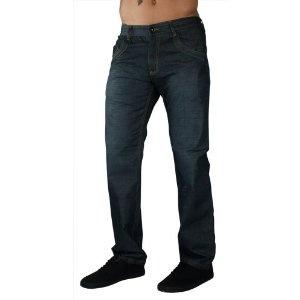 """F.U.S.A.I. Jeans Wax Coated 32"""" Inseam Medium Wash Denim Mens Slim Straight Pant (Apparel)"""