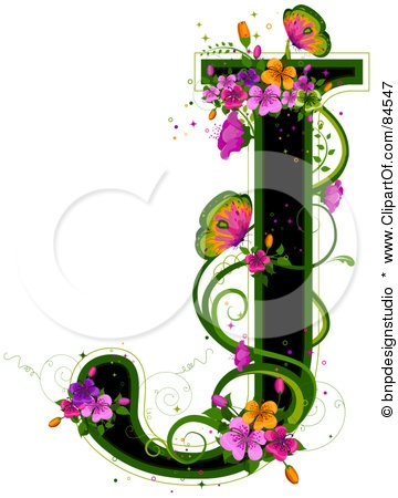 Black Capital Letter J Outlined In Green, With Colorful Flowers