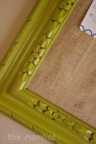 DIY bulletin board, DIY frame, repurposed frame