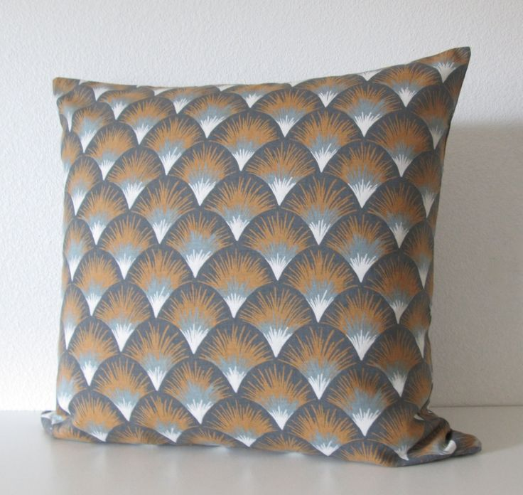 ONE pillow cover. We used a home decor Robert Allen fabric. Contents: 100% Cotton Colors: gray/blue tones, off-white and gold/tan. SAME FABRIC on BOTH SIDES. Zipper closure. Print placement may vary Dry clean recommended.  Coordinating Pillows Marni Agate https://www.etsy.com/listing/242243649/marni-agate-amber-decorative-pillow?ref=shop_home_active_7 Tia Stripe https://www.etsy.com/listing/242244467/tia-stripe-amber-decorative-...