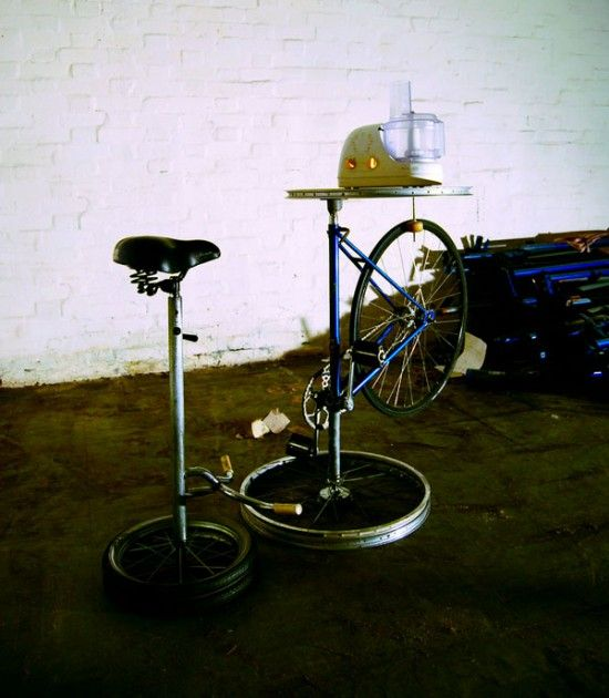 As part of their exhibition, The Pedal Powered Home in 2009, Magnficent Revolution transformed a set of home appliances using found objects and some second-hand bicycles.