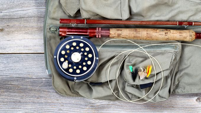 Trout fishing equipment on fishing v by Tigerpix Images  on Creative Market