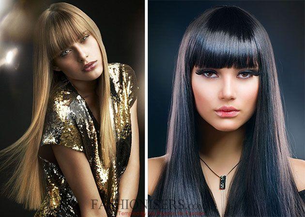 Hairstyles with Classic Straight Bangs  #hairstyles #bangs #straightbangs