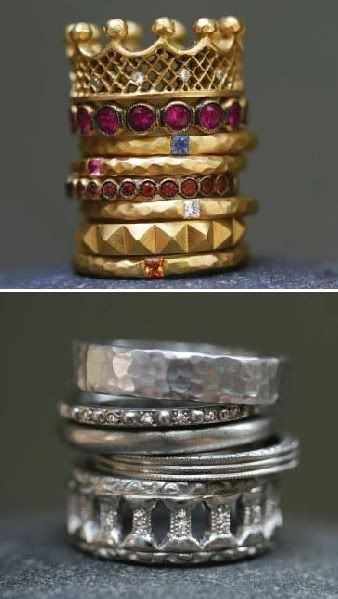 I love stacked bands...wondering how many of these i can get on one finger...(Cathy Waterman)