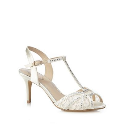 Debut Ivory diamante embellished T-bar high sandals | Debenhams