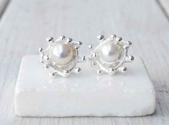 Pearl Earrings Sterling Silver & Cultured Pearls by SunSanJewelry