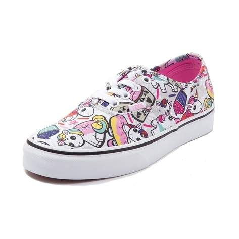 Garnish your feet with the sweet style of the new Authentic Donut Unicorn Skate Shoe from Vans! This magical Vans Authentic features a sturdy canvas upper with a collage of quirky unicorns, sprinkles, and donut prints, finished off with a vulcanized rubber outsole for flexible traction. <b>Only available at Journeys and SHI by Journeys!</b>  <br><br><u>Features include</u>:<br> > Durable canvas upper<br> > Front lace closure off...