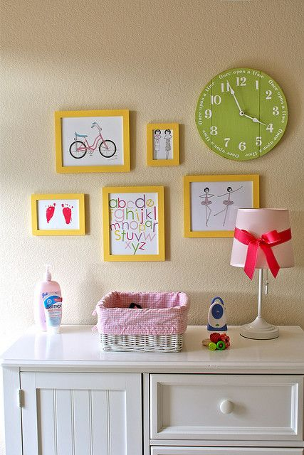 Hanging pictures in a nursery