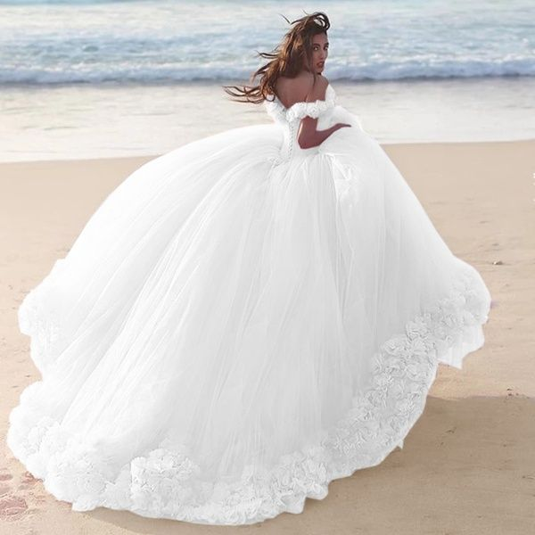 2019 Women S Fashion Off The Shoulder Tulle Flower Wedding