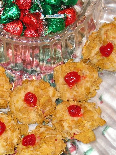 Cherry Winks Cookies ~ OMG! I remember baking these with my aunt yearS ago! Our corn flake cookies! PERFECT!