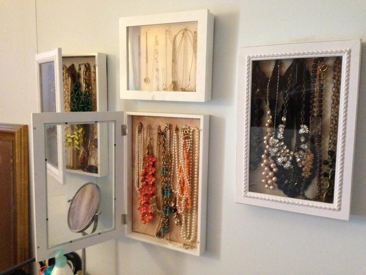 Diy jewelry storage displays hinged shadow box frames for Tj maxx jewelry box