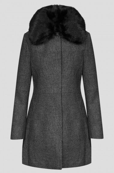 Palton melanj cu guler larg din blană | ORSAY