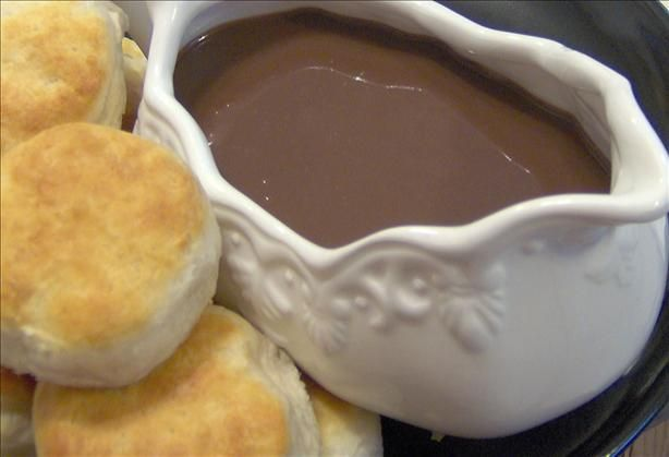Mom's Chocolate Gravy & biscuits    our Mom always makes this for Christmas morning for all her clan. She got this from her Mom and she got it from her Mom...an old traditional recipe. Yummy !!