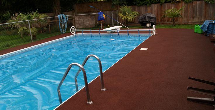 A cushiony rubber pool deck.