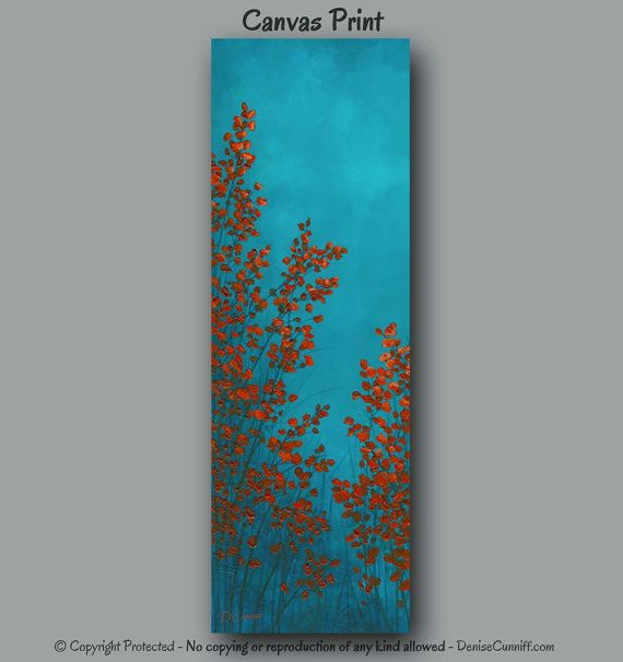 Large Wall Art, Turquoise U0026 Red Home Decor, Office Decor, Tall Narrow Canvas