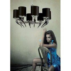 MAXlight Lampa wisząca, nowoczesna LANTA P0031 Z ABAŻUREM CZARNA
