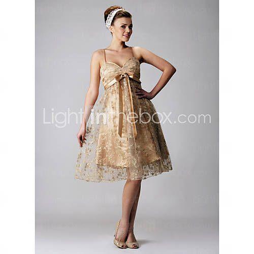 [AUD $ 154.40] uma linha de cintas de espaguete na altura do joelho rendas cocktail / vestido de baile