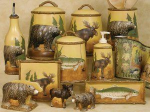 Bear kitchen canisters cabin kitchen accessories lodge Cabin kitchen decor