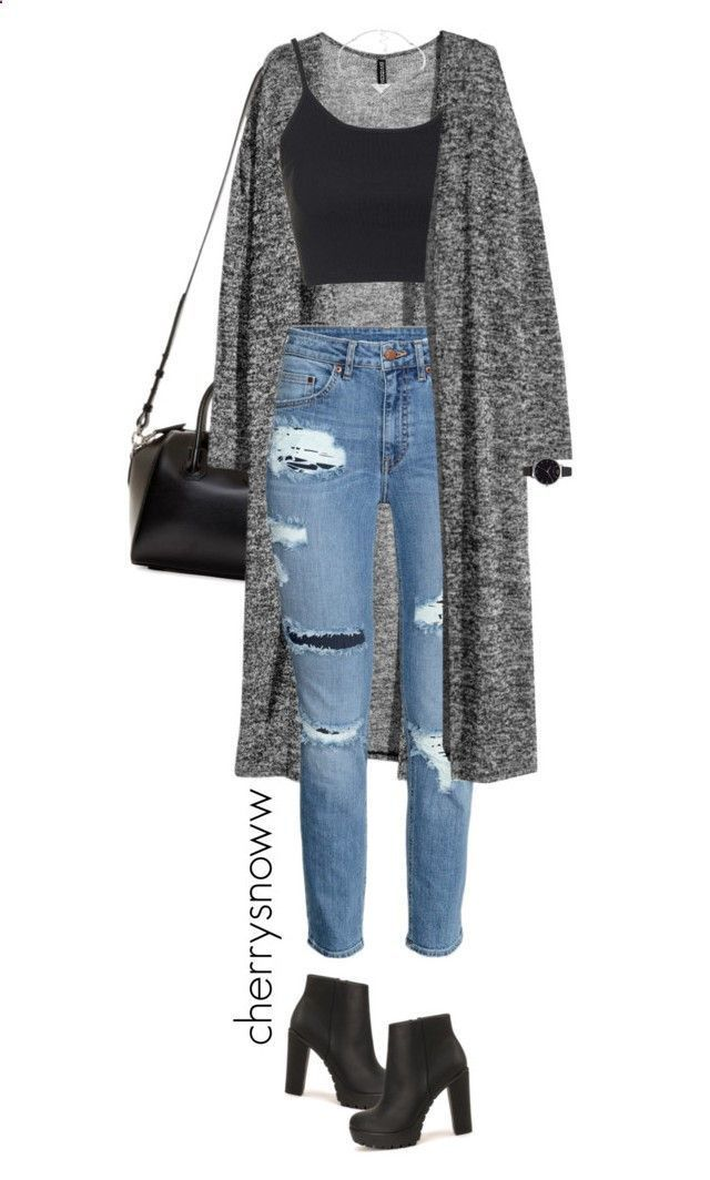 Grunge chic ripped jeans and long cardigan outfit by cherrysnoww ❤️ liked on Polyvore featuring Givenchy, HM, Topshop, Nly Shoes, Olivia Burton, Pieces, womens clothing, women, female and woman #rippedjeanswomenoutfit