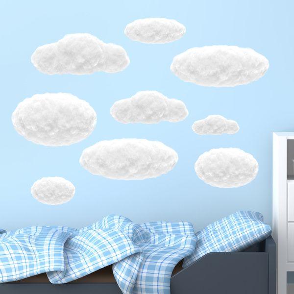 kit nubi bianco di cotone - Adesivi per bambini. Adesivi murali bambini a kit. #adesivimurali #decorazione #modelli #mosaico #nubi #StickersMurali