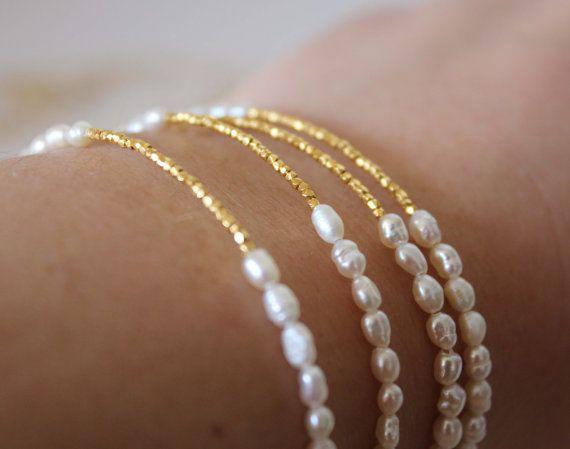 Nacre et or Bracelet  Bijoux de mariage  par lizaslittlethings