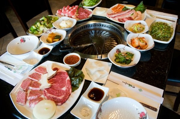 Manna Korean BBQ in Kearny Mesa! One flat price gets you unlimited different cuts of meat, as well as a variety of interesting sides!