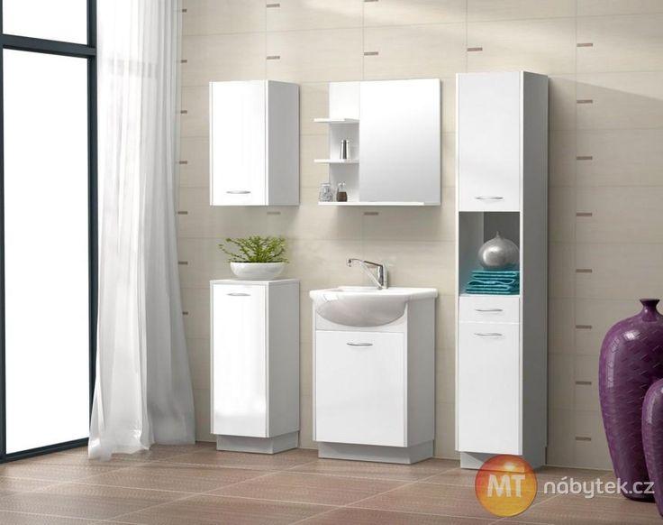 Jednoduchá bílá koupelnová sestava Miriam z lamina